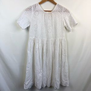 By TiMo white eyelet button back babydoll dress